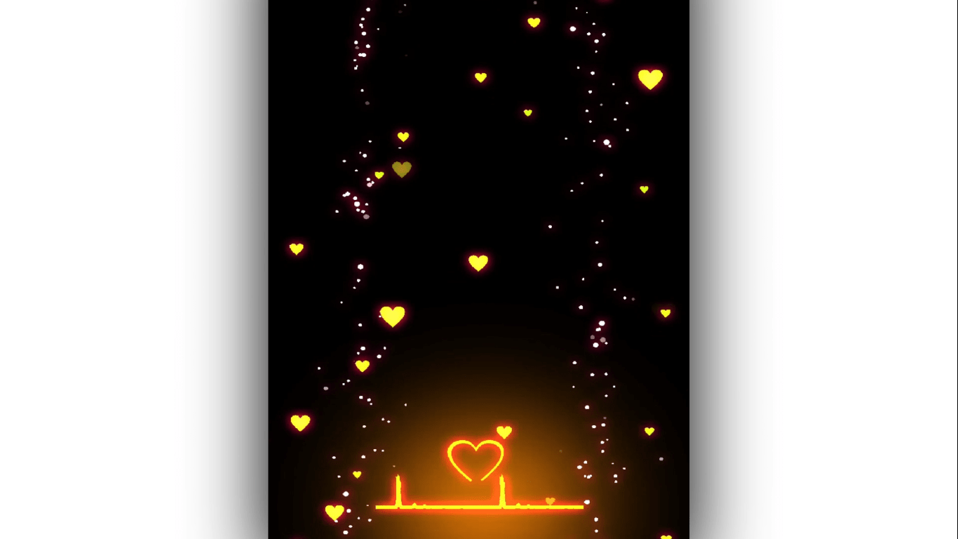 Yellow Heart Particles Black screen Template | Template World