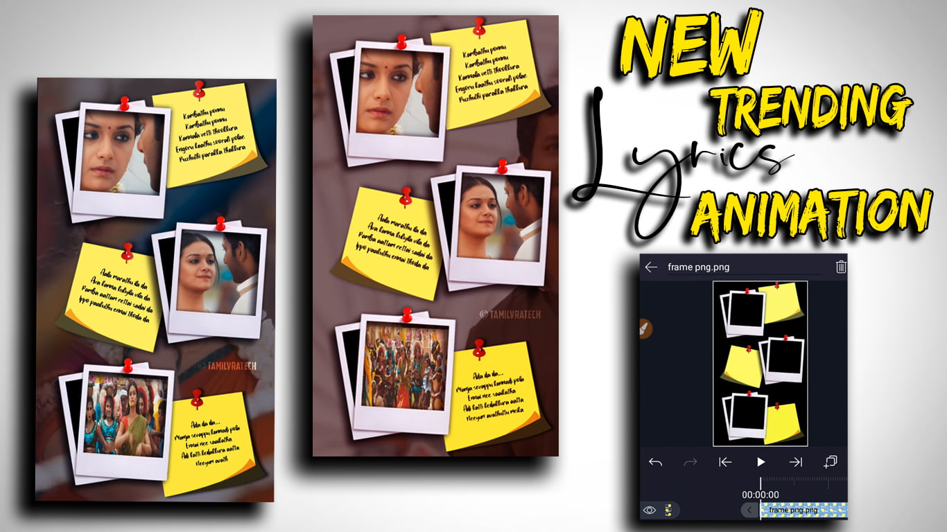 Photo Frame with PAPER Pin Lyrics animation in alight motion Tutorial Tamil | Tamil vra Tech