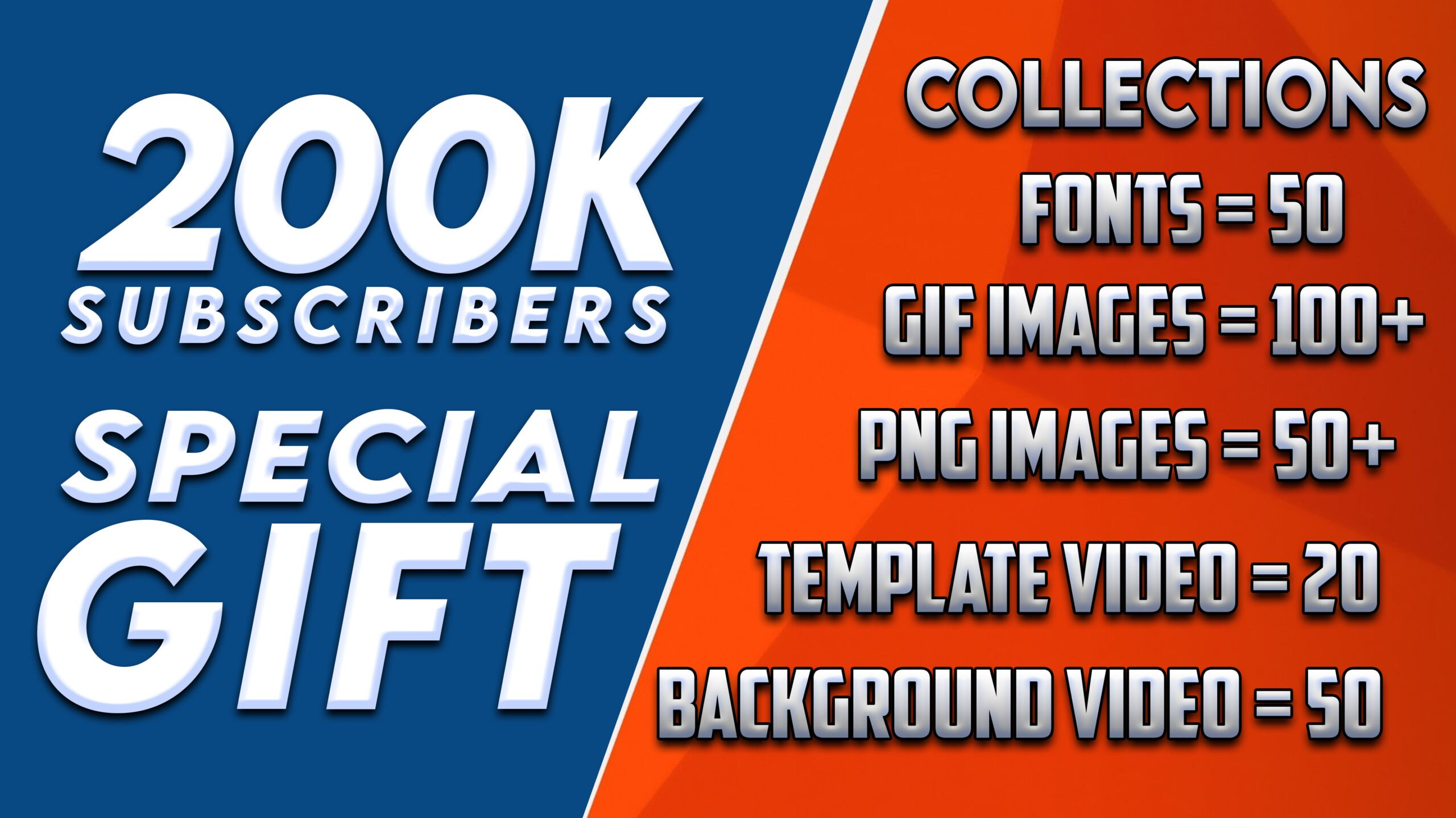 2,00,000 Subscribers Special Gift | 200k GIFT #1 | 50 Fonts Collection